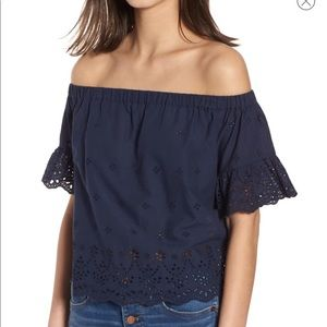Madewell off the shoulder eyelet top S